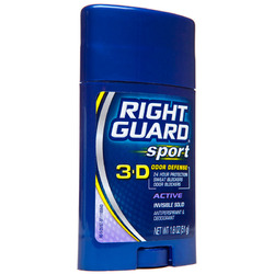 Right Guard- 3DSport Deodorant & Anti-Perspirant, Invisible Solid, Active, 1.8oz