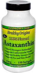 Healthy Origins- Astaxanthin, 100% Natural Bioastin, 4mg, 150 softgels