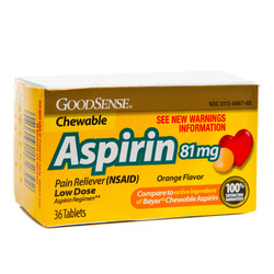 Good Sense- Aspirin Chew Child, Orange 81mg, 36 Tablets