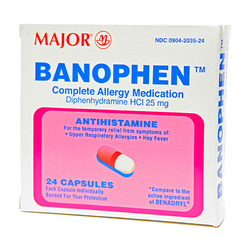 Major Pharmaceuticals- Banophen Boxed 25mg, 24 Caplets