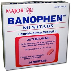 Major Pharmaceuticals- Banophen Hcl 25mg, 24 Capsules