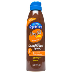 Coppertone- Continuous Spray Dry Oil, SPF 4, 6oz