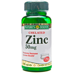 Nature's Bounty- Chelated Zinc, 50mg, 100 caplets