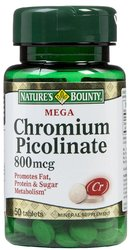 Nature's Bounty- Chromium Picolinate, 800mcg, 50 tablets