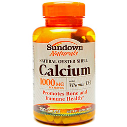 Sundown Naturals- Calcium, Oyster Shell, 1000mg, 250 tablets