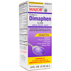 Major Pharmaceuticals- Dimaphen Cold & Allergy PE, Grape, 4floz Liquid