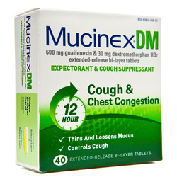 Mucinex- DM, Expectorant/Cough Suppressant, 600mg/30mg, 40 Tablets
