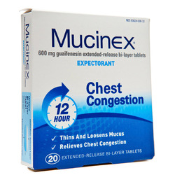 Mucinex- Expectorant, 600mg, 20 Tablets
