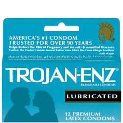 Trojan- Enz Lubricated Latex Condoms (12 Pack)
