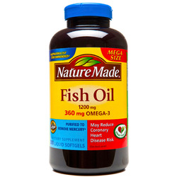 Nature Made- Fish Oil/Omega 3, 1200mg/360mg, Mega Size, 300 Softgels