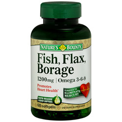 Nature's Bounty- Flax, Fish, Borage Oils, 60 softgels
