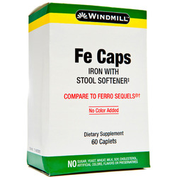 Windmill- Fe Caps with Stool Softener, 60 Caplets