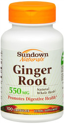 Sundown Naturals- Ginger Root Whole Herb, 550mg, 100 capsules