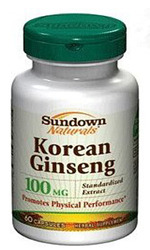 Sundown Naturals- Korean Ginseng Standardized, 100mg, 60 capsules