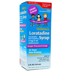 Taro- Loratadine Child Os 5mg/5ml, Grape Flavor, 4floz Liquid