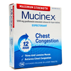 Mucinex- Max Strength Expectorant, 1200mg, 14 Tablets