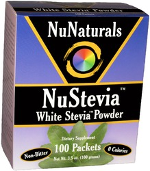 NuNaturals- NuStevia, White Stevia Powder, 3.5oz, 100 packets