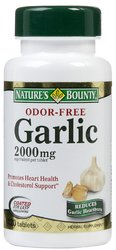 Nature's Bounty- Odor Free Garlic, 2000mg Enteric Coated, 120 tablets