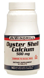 Windmill- Oyster Shell Calcium, 500mg, 60 Tablets