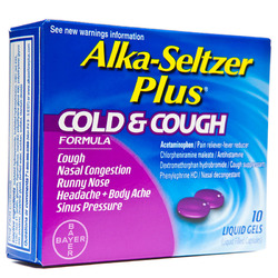 Alka Seltzer- Plus, Cold & Cough, 10 Liquid Gels