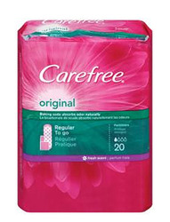 Carefree- Panty Liners with Body Shape, Unscented (20 pack)