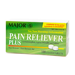 Major Pharmaceuticals- Pain Reliever 250/250/65mg, 100 Tablets