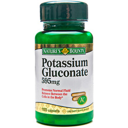 Nature's Bounty- Potassium Gluconate, 99mg (595mg per serving), 100 caplets