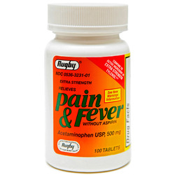Watson Rugby- Pain and Fever Acetaminophen, Extra Strength, 500mg, 100 Tablets
