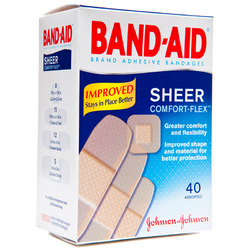 Band-Aids- Sheer Adhesive Bandages, Assorted Sizes (40 count)