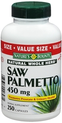 Nature's Bounty- Saw Pametto, 450mg, 250 capsules (400cc bottle)