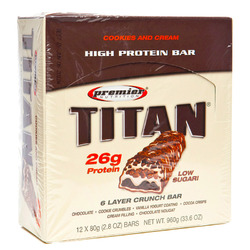 Premier Nutrition- Titan Bar, Cookies and Cream (12 pack)