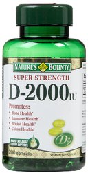 Nature's Bounty- Vitamin D-2000 IU, 200 softgels