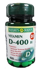 Nature's Bounty- Vitamin D-400 IU, 100 tablets