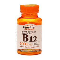 Sundown Naturals- Vitamin B-12, 6000mcg, 30 tablets