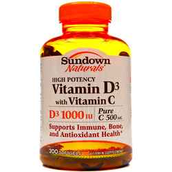 Sundown Naturals- Vitamin D3 1000IU with Vitamin C 500mg, 200 softgels