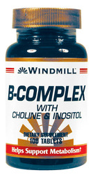 Windmill- Vitamin B Complex with Choline & Inositol, 100 Tablets