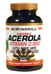 Windmill- Vitamin C, 500mg, Chewable Acerola, 50 Tablets