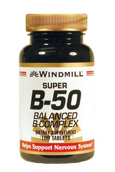 Windmill- Vitamin Super B-50 (Balanced B Complex), 100 Tablets