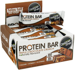 Designer Whey- Whey Protein, Triple Chocolate Crunch Bars (12 pack)